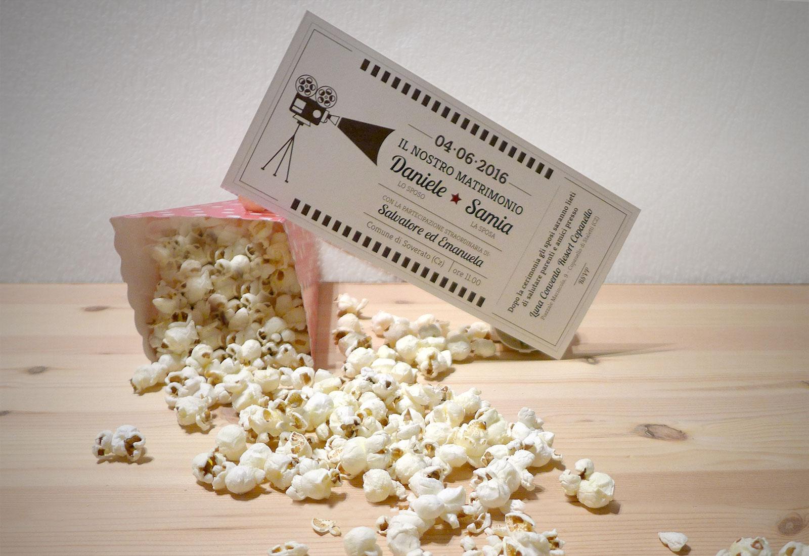 Matrimonio Tema Cinema : Le partecipazioni di matrimonio biglietto del cinema di stefano